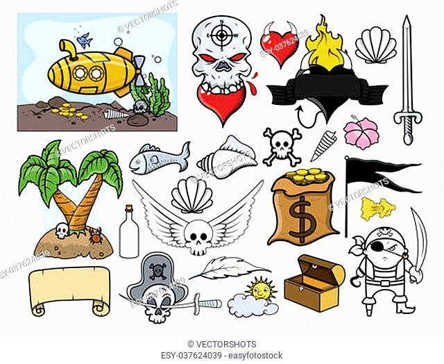 Drawing Art of Cartoon Pirates Elements Graphics Designs Vector Illustration