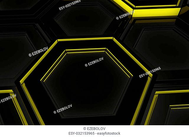 Abstract technological background made of glowing hexagons, wall of hexagons, 3d render illustration