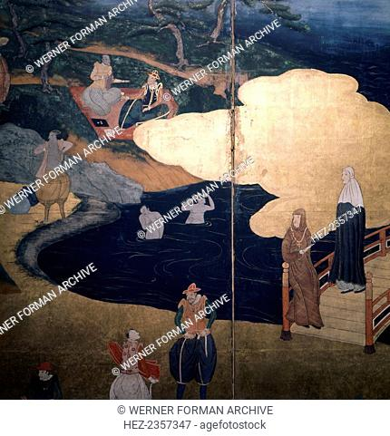Detail of a screen depicting Jesuit priests and Portuguese merchants, Japanese, 17th century. Late Momoyama or early Edo period