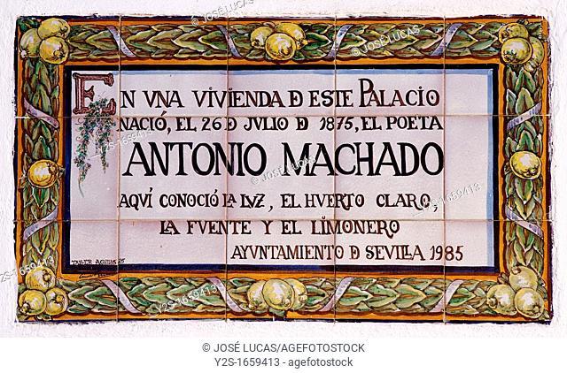 Antonio Machado glazed tile, Palacio de las Dueñas -15th century, Seville, Spain