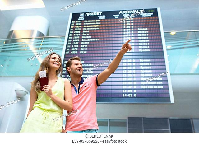 Young couple at the airport