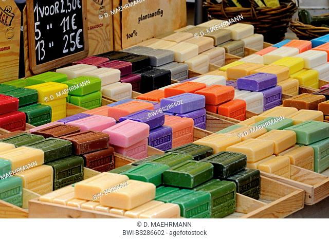 sale booth with homemade soaps, Belgium, Knokke
