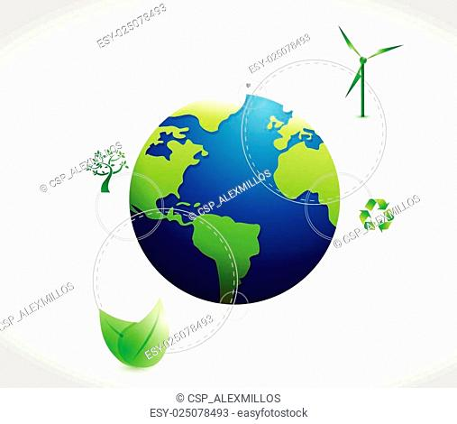 eco natural green globe concept
