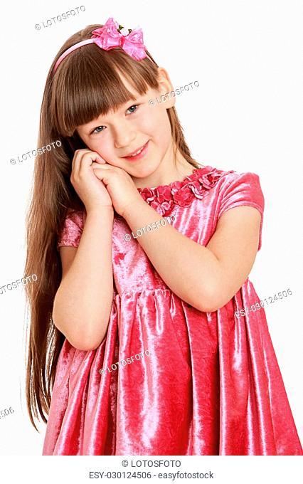 bcbe644b854e Beautiful elegant girl in the red velvet dress- isolated on white background