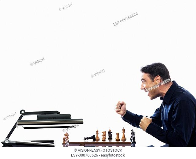 caucasian man playing chess with computer defeat concept on isolated white background