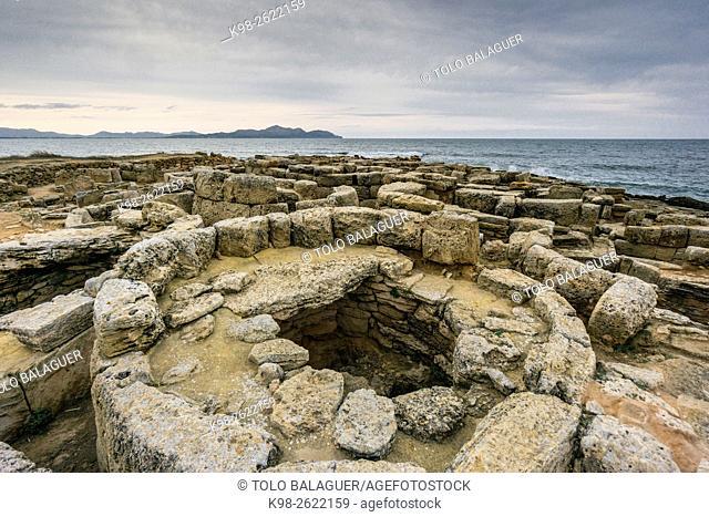 Necrópolis de Son Real , conjunto de construcciones funerarias , término municipal de Santa Margalida, Majorca, Balearic Islands, Spain
