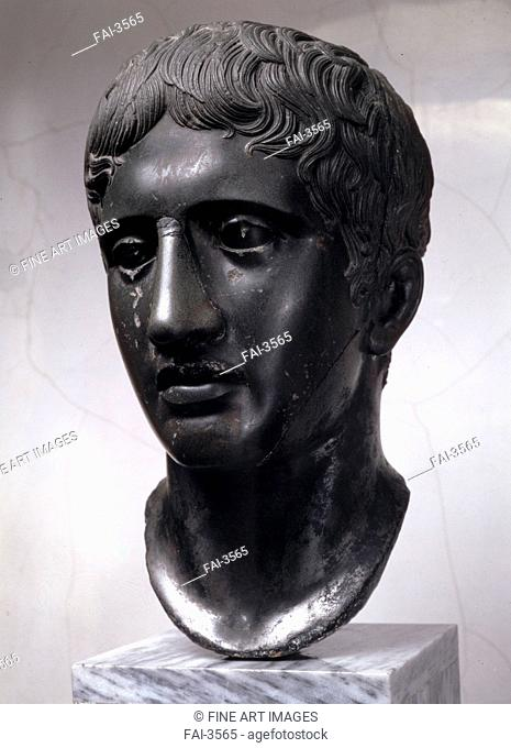 Head of Doryphorus (Roman copy after original by Polyclitus). Art of Ancient Rome, Classical sculpture . Marble. Classical Antiquities. c. 450-440 BC