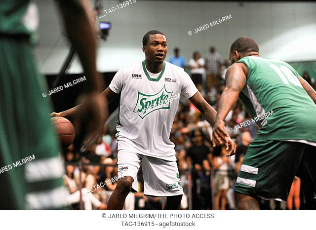 Rapper Meek Mill attends the BET Experience Sprite Celebrity Basketball Game at the Los Angeles Convention Center on June 27th, 2015 in Los Angeles, California