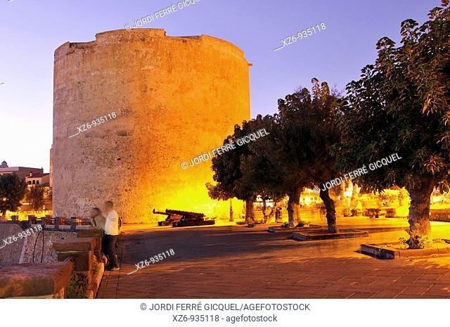 Torre de l'Esperó Reial  The Royal Spur Tower Sulis Tower at sunset  Alghero, island of Sardinia, Sassari province, Italy, Europe