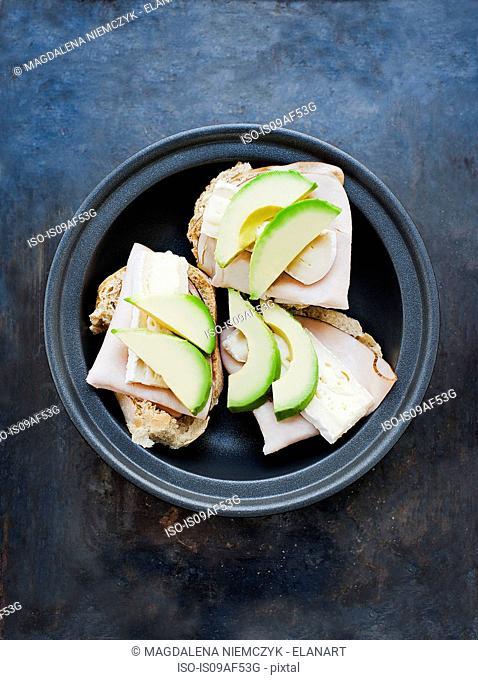 Open sandwich with avocado