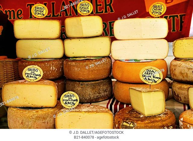 Sheep cheeses from Basque Country. Pyrenees Atlantiques, Aquitaine, France