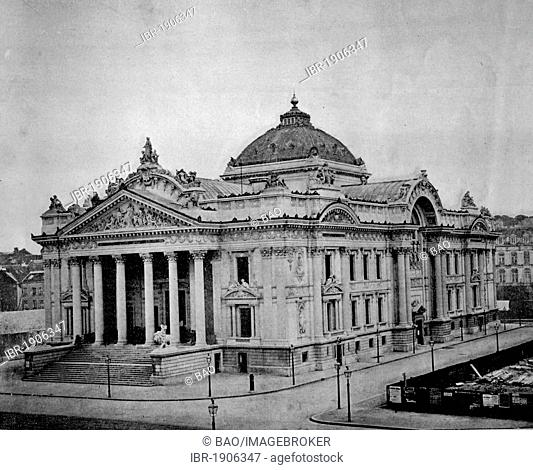 One of the first autotype photographs of Palais de la Bourse, Stock Exchange, Brussels, Belgium, circa 1880