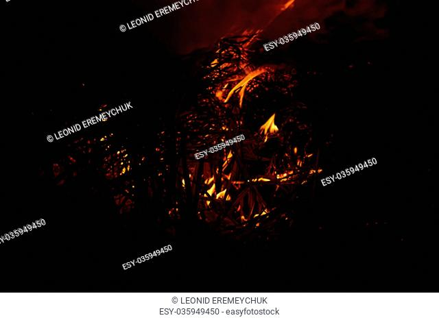 Fire. Burning of rice straw at night. Red fire on a black background. Combustion