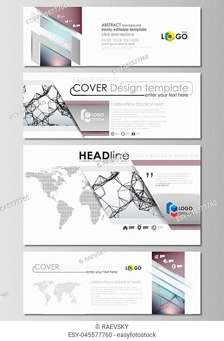 Social media and email headers set, modern banners. Business templates. Easy editable abstract design template, vector layouts in popular sizes