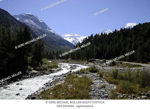 Glacier in the Valley of Roseg, Oberengadin, swiss Alps