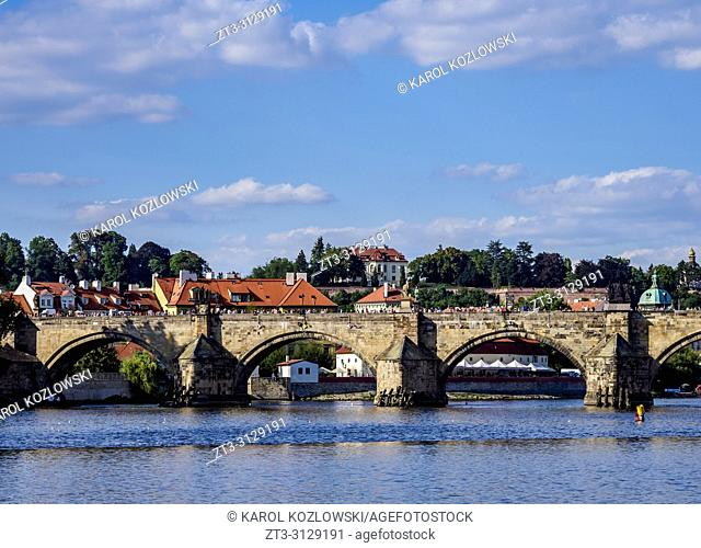 Charles Bridge and Vltava River, Prague, Bohemia Region, Czech Republic