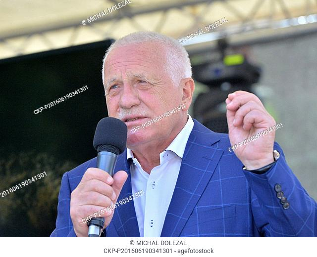 Former Czech president Vaclav Klaus celebrated his 75th birthday at a Prague tennis club, Czech Republic, June 19, 2016. Two hundred of politicians
