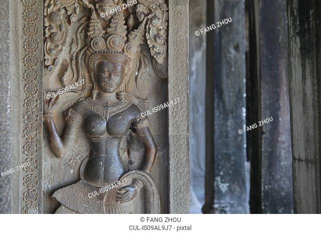Sculpture of ancient Apsara dancer, Siem Reap, Cambodia