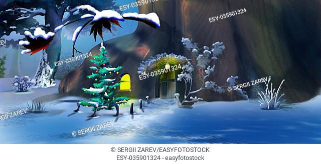 Christmas Tree near a Fairy Tale Gnome House in a Winter Forest . Handmade illustration in a classic cartoon style