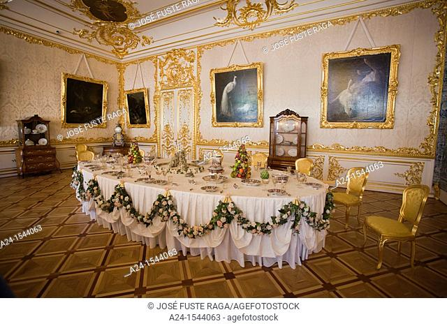 Rusia ,Near San Petersburg City ,Pushkin City, Catherina Palace, interior , dining room