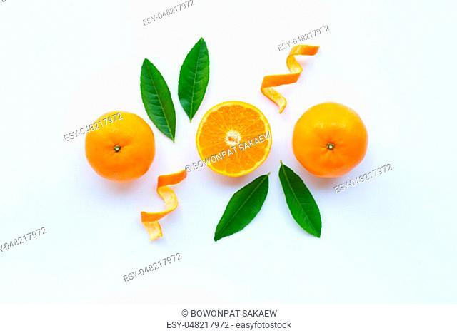 High vitamin C, Fresh orange citrus fruit on white background