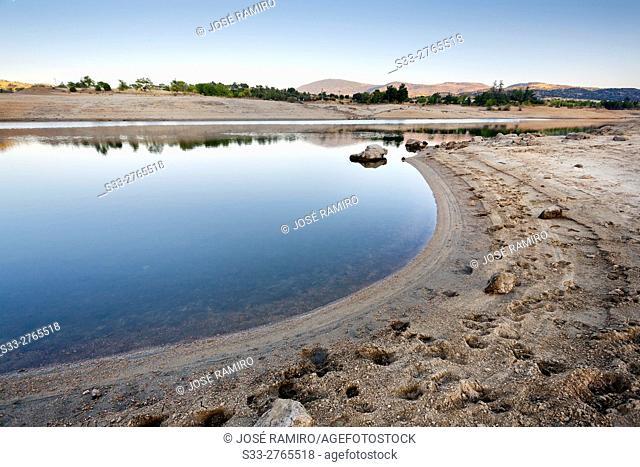Drought in the Burguillo reservoir. Avila. Castilla Leon. Spain. Europe