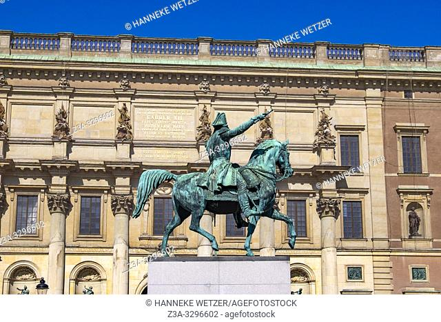 The equestrian statue of Gustav II and the Kungliga Opera House, Stockholm, Sweden