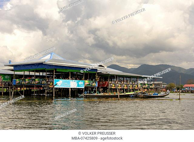 Nampan, restaurant on stilts, boat, Inle Lake, Shan State, Myanmar (Burma)