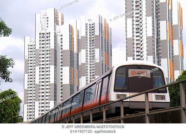 Singapore, Buona Vista MRT Station, Circle Line, subway train, public transportation, high-rise, apartment, buildings, condominiums, residences