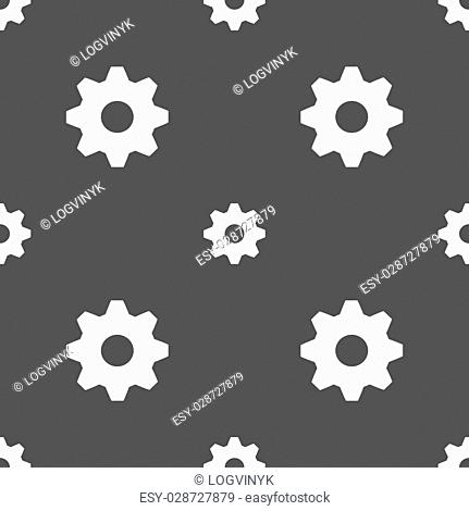 Cog settings sign icon. Cogwheel gear mechanism symbol. Seamless pattern on a gray background. Vector illustration