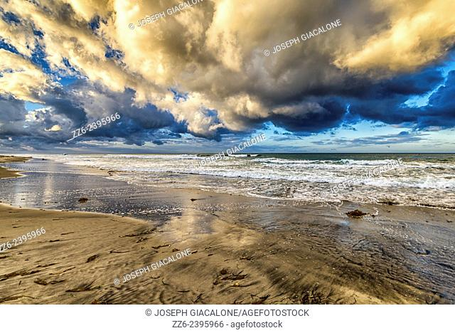 View of Ponto Beach and majestic storm clouds over the ocean. Carlsbad,California, United States