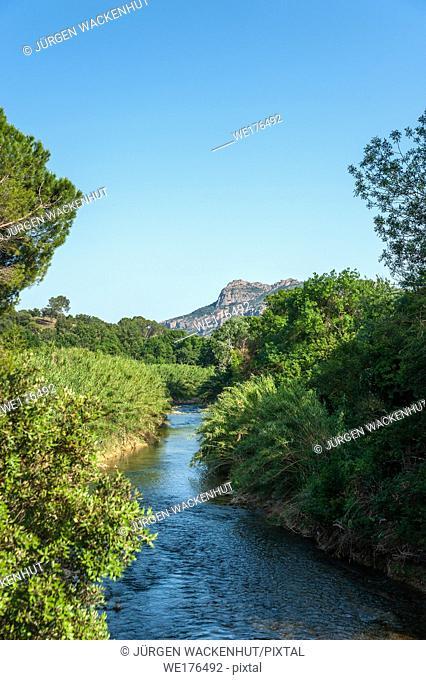 Landscape with the river La Nartuby, Le Muy, Var, Provence-Alpes-Cote d`Azur, France, Europe
