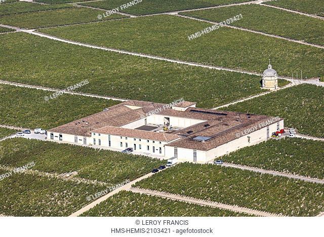 France, Gironde, Pauillac, Chateau Latour first growth Pauillac (aerial view)