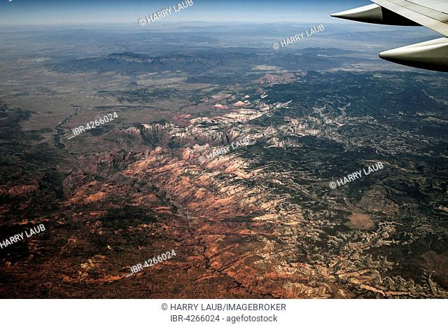 View from plane, Zion National Park, Utah, USA