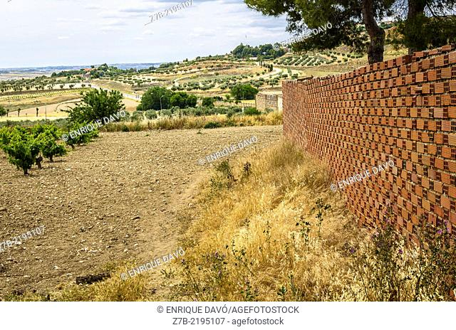 View of a brick wall in Chinchon country, Madrid province, Spain