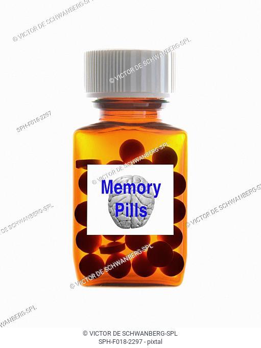 Bottle of 'memory pills' against white background