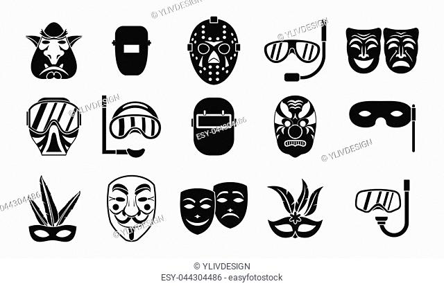 Mask icon set. Simple set of mask icons for web design isolated on white background