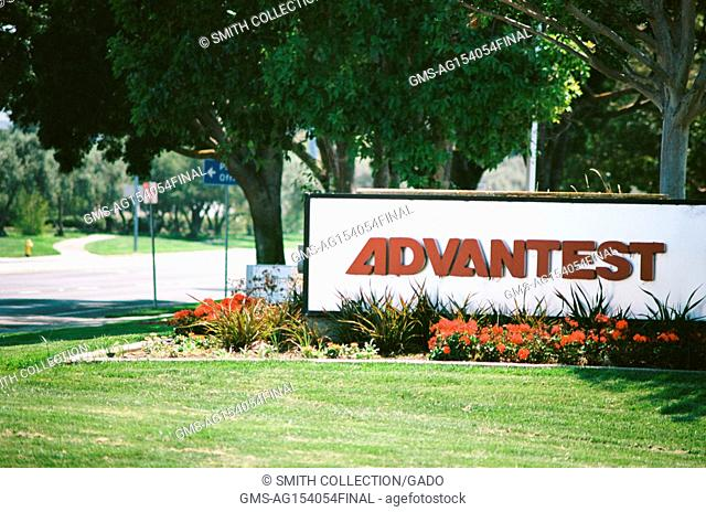 Signage with logo at the Silicon Valley headquarters of semiconductor testing equipment company Advantest, San Jose, California, August 17, 2017