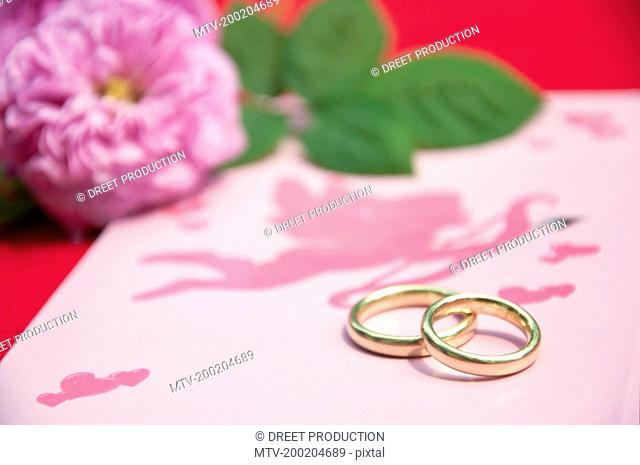 Wedding rings on wedding card with roses, close up