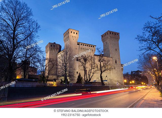 The Vignola castle at dusk, Vignola, Emilia Romagna, Italy
