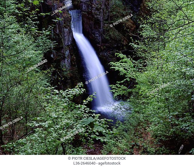 Wilczki Waterfall. Miedzygorze villige. Sudety Mountains. Poland