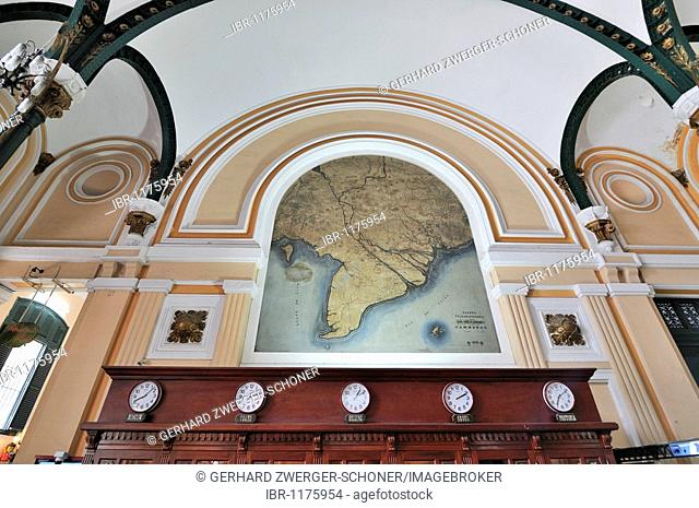 Wall map of South Vietnam, Mekong Delta, main post office, Ho Chi Minh City, Saigon, Vietnam, Southeast Asia