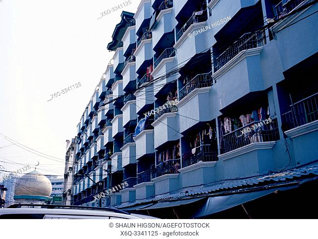 Apartment housing in Manila in Luzon Metro Manila in the Philippines in Southeast Asia Far East
