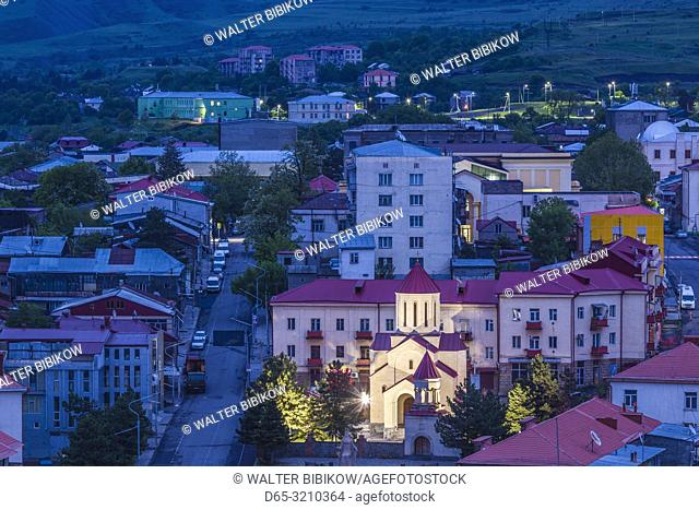 Georgia, Akhaltsikhe, high angle town view , dawn