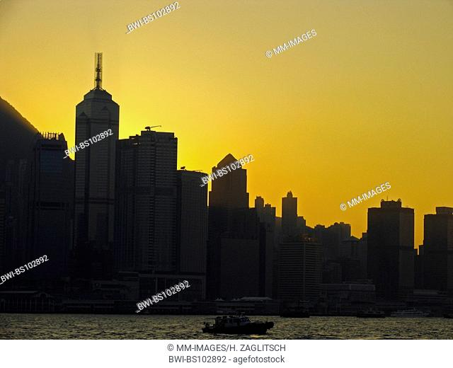 modern skyline of Hongkongs Central District at sunset, China
