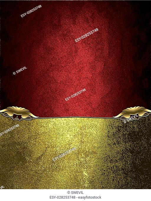 Red velvet texture with a rich golden ornaments. Element for design. Template for design. copy space for ad brochure or announcement invitation