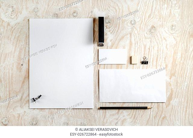 Blank stationery and ID template. Mock-up for branding identity for designers. Top view