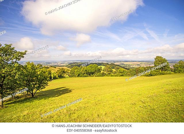 Panoramic views of the hill Hohenstaufen to the South of Germany