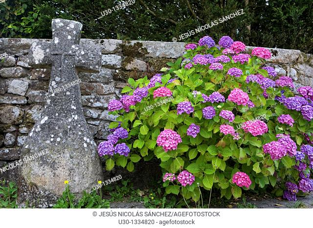 Detail in a street of the small town of Locronan, in the Finistere department  Brittany  France