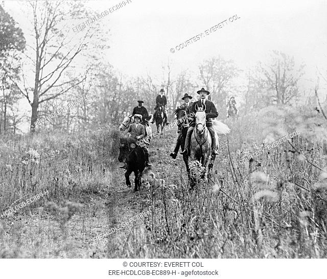 Men and boy on horses during hunt in Virginia, photograph, circa 1910-1930
